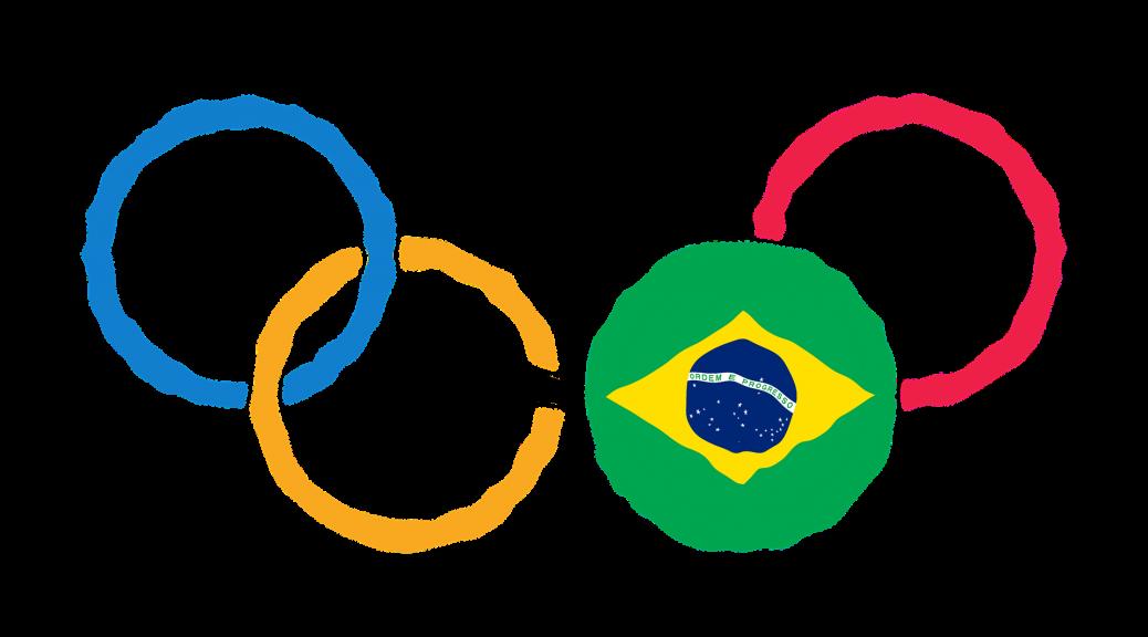 Olympische Ring mit Brasilianischer Flagge