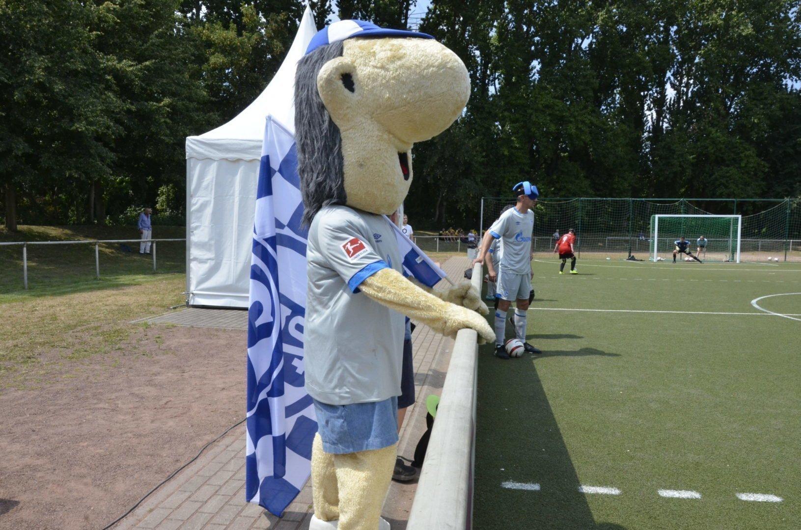 """Auch Schalkes Maskottchen """"Erwin"""" war auf der Sportstätte des VfB Gelsenkirchen vor Ort."""