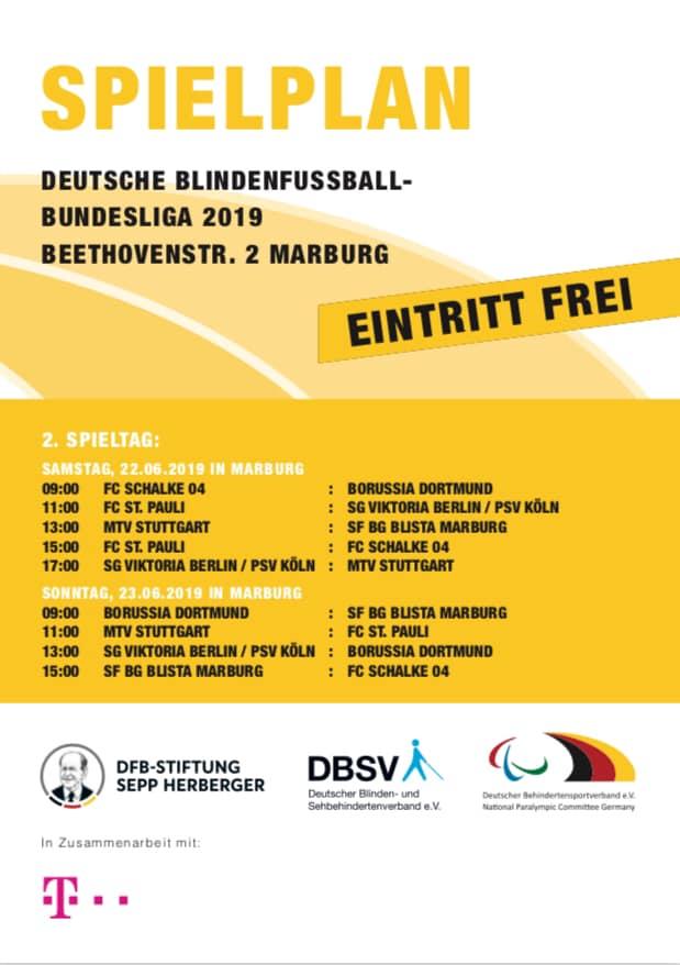 Der Spielplan vom Wochenende in Marburg in der Übersicht. Rechte: DBS, DFB-Stiftung Sepp Herberger und Deutscher Blinden- und Sehbehindertenverein