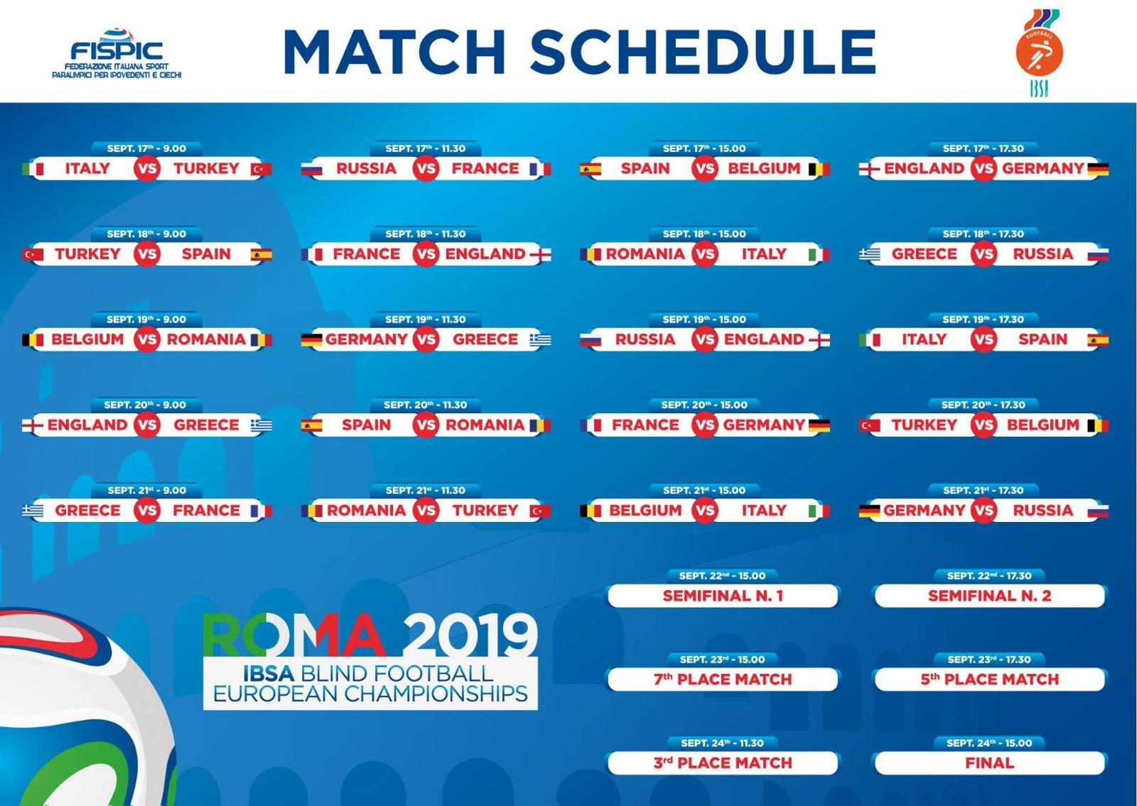Der komplette Spielplan der Blindenfußball-EM in Rom in der Grafik. Bildrechte: IBSA